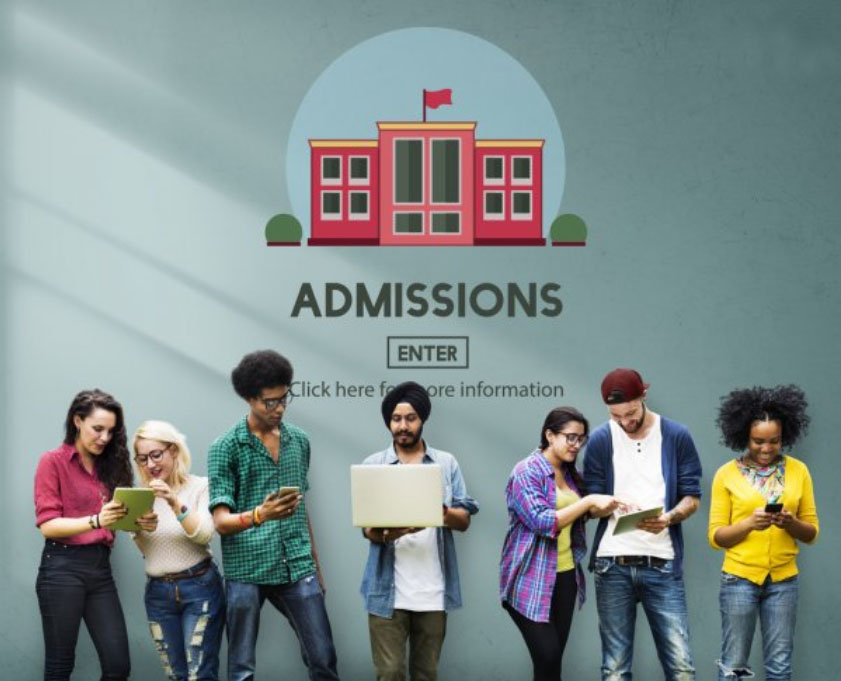Admissions wall with students lined up
