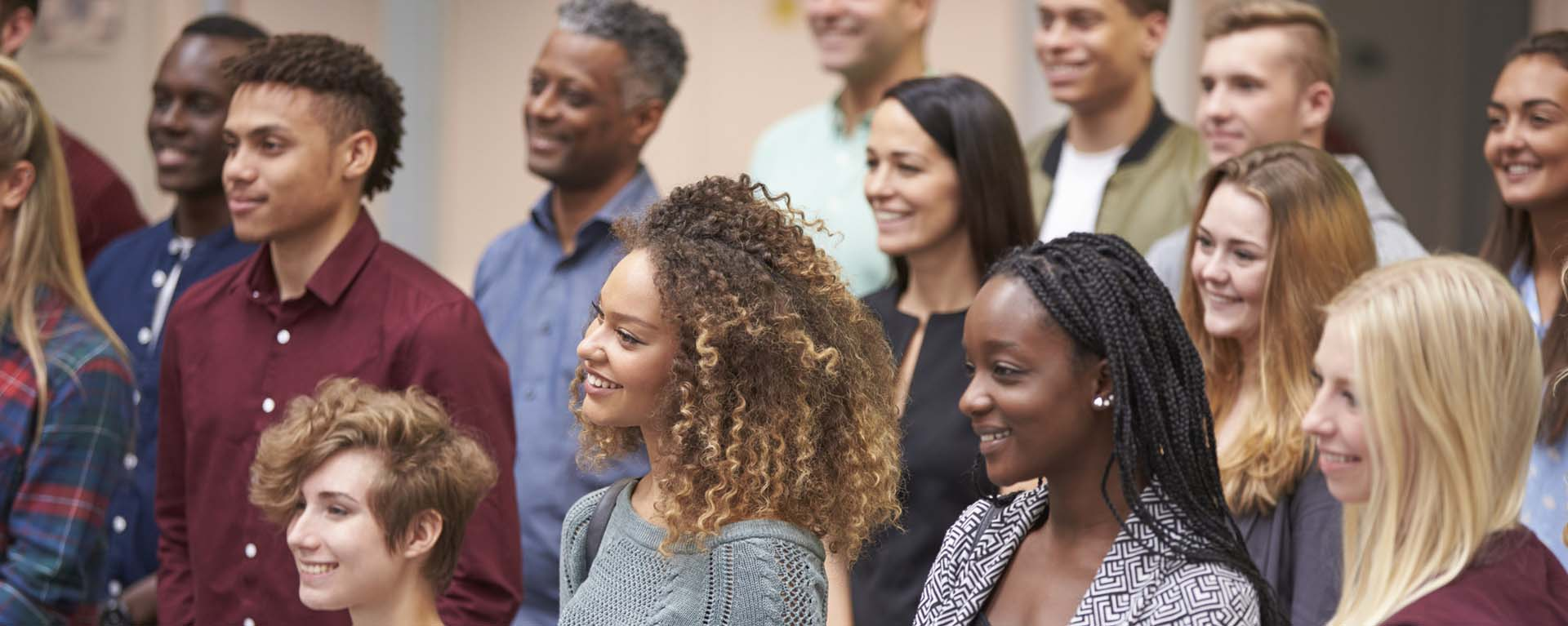 Diverse Group of Students looking at teacher